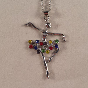 Silver Crysal Ballerina Ballet Dancer Necklace
